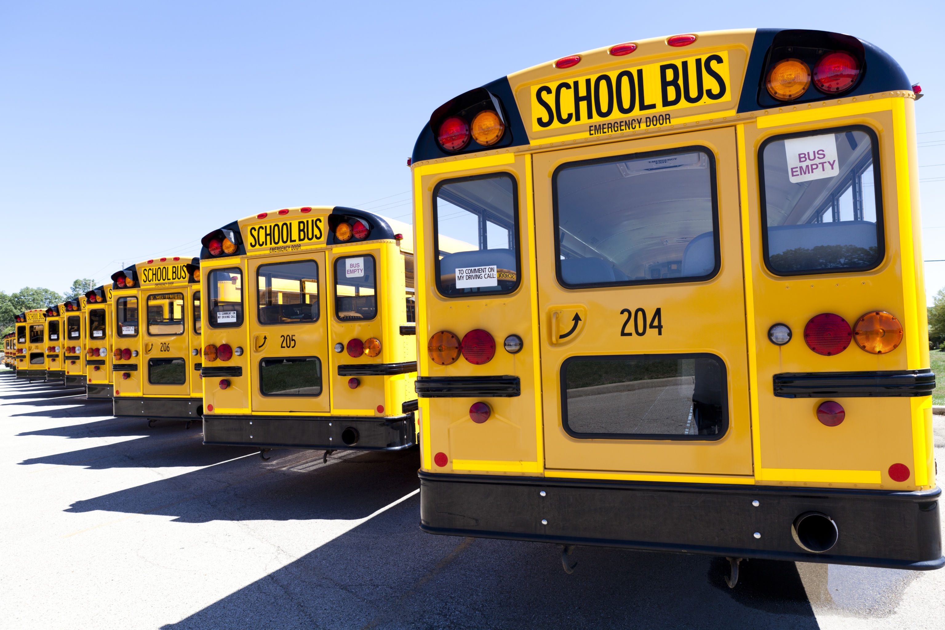 Parked school buses.
