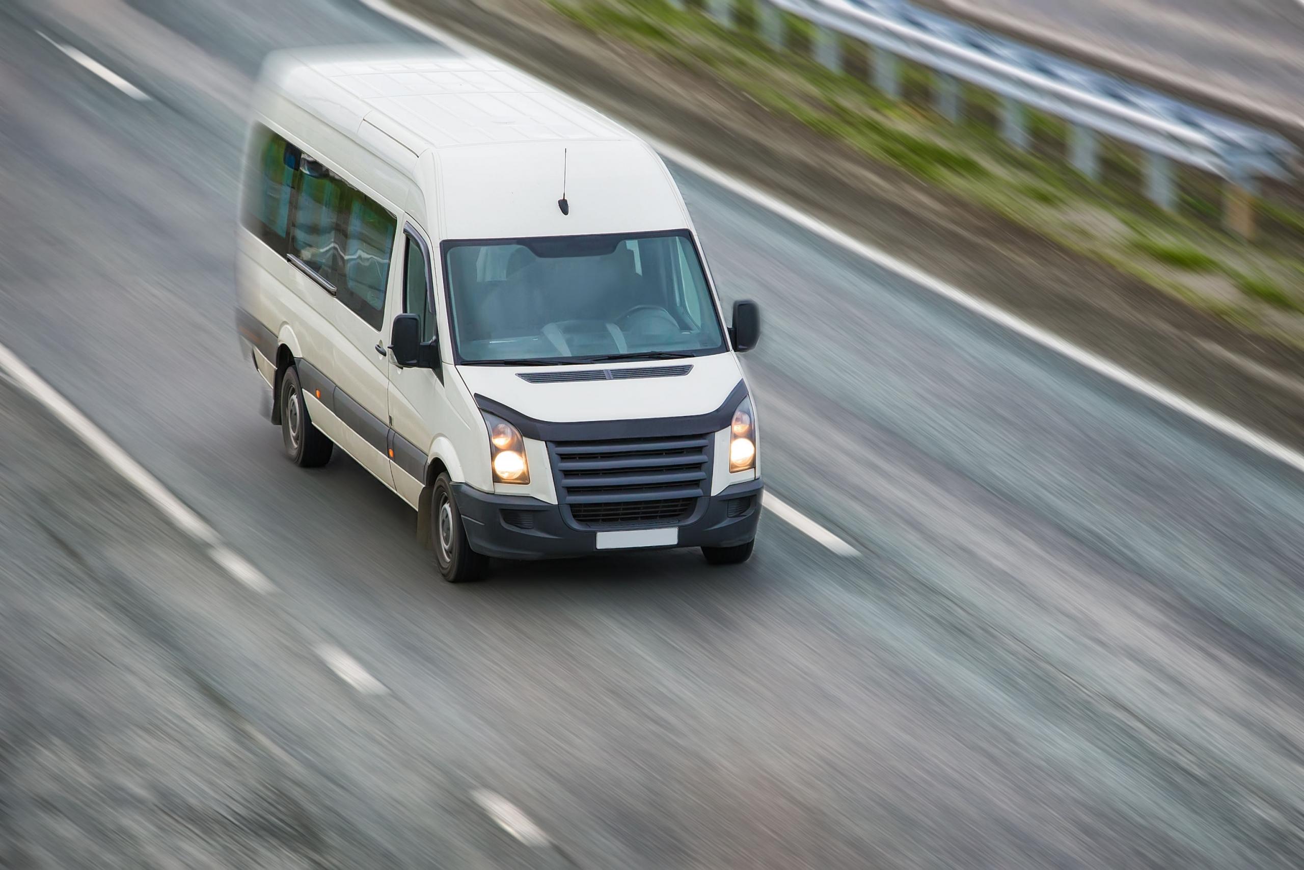 passenger van on highway