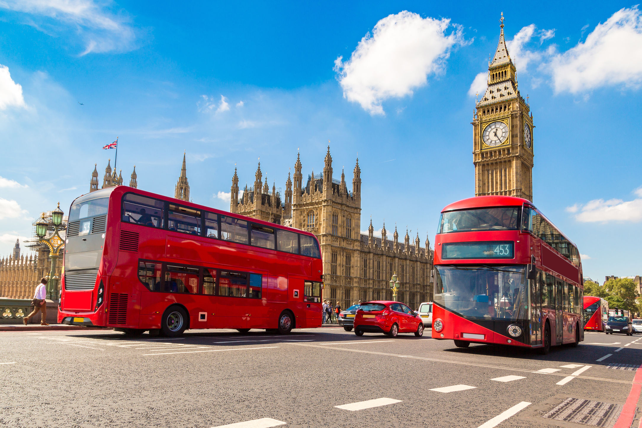 Buses in London, England.